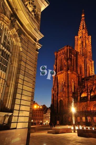 Photo de nuit Cathédrale de Strasbourg