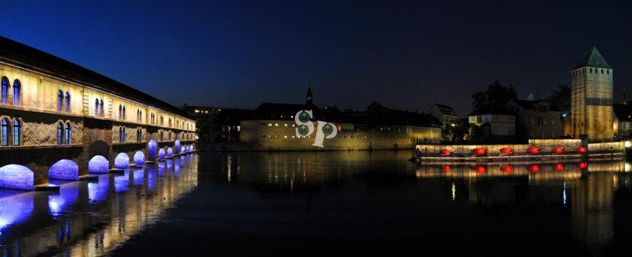 strasbourg ponts couverts de nuit